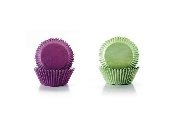 Papírové košíčky fialové a zelené 7,5 x 4cm