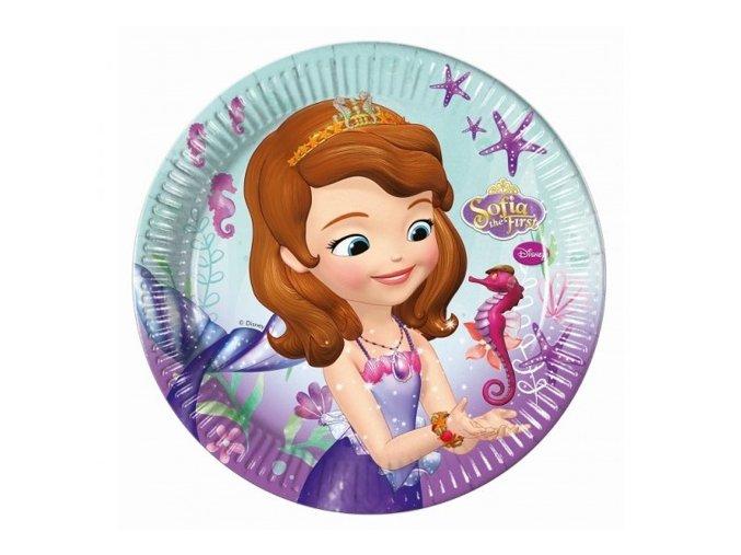 Papírové talíře Princezna Sofie - Mořská víla 23 cm - 8 ks
