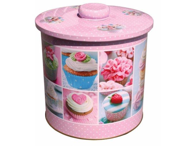 Plechová dóza na cukroví s motivem cupcakes - velká
