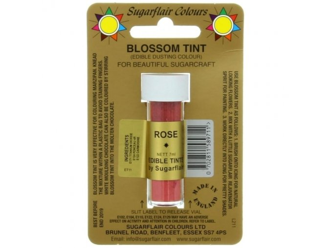 sugarflair blossom tint edible dust food colouring sugarcraft powder colour 7ml rose p1509 2123 image