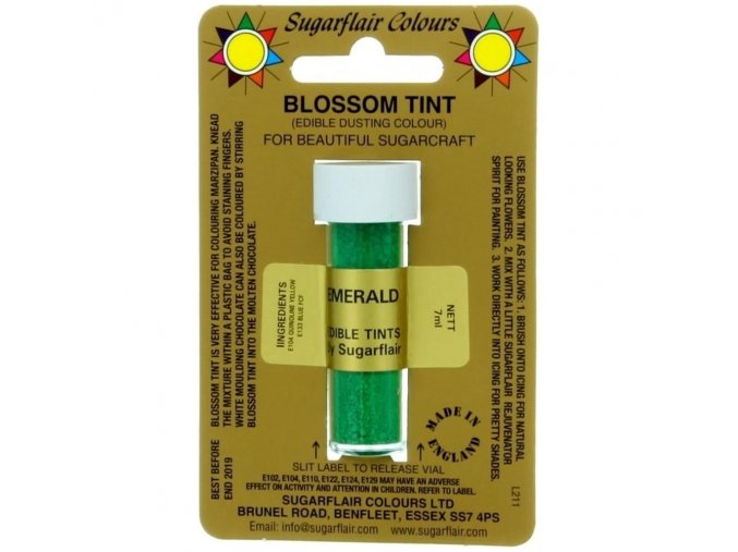 sugarflair blossom tint edible dust food colouring sugarcraft powder colour 7ml emerald p1521 2135 image