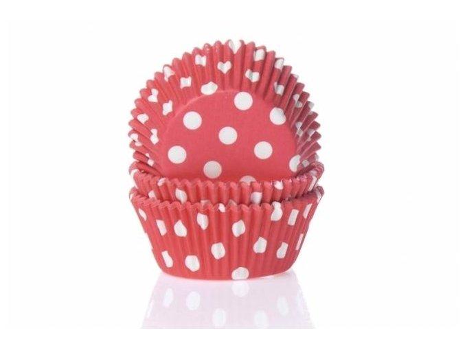 Papírový košíček na muffiny červený puntíkovaný 50ks