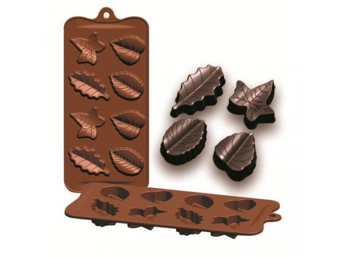 Formičky na čokoládu listy 10,5x21cm