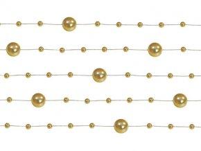 Perlová girlanda zlatá 130 cm (5 ks)