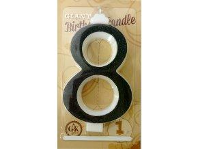 Svíčka velká černá číslo 8