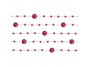 Perlová girlanda červená 130 cm (5 ks)