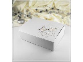 Svatební krabička na výslužku perleťová vzor motýl (18,5 x 13,5 x 5,8 cm)