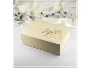 Svatební krabička na výslužku zlatá vzor motýl (18,5 x 13,5 x 5,8 cm)