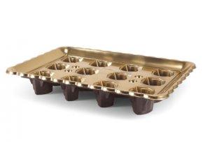 Podnos plastový zlatý na dezerty v kelímkách s víčkem (na 12 ks)