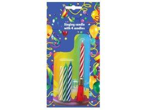 Alvarak 4 narozeninové svíčky s hrajícím nástavcem