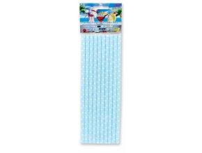 Alvarak Koktejlová brčka papírová světle modrá s bílými puntíky (10 ks)