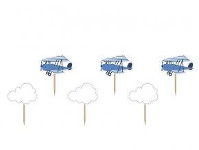 PartyDeco zapichovací dekorace na muffiny Letadla