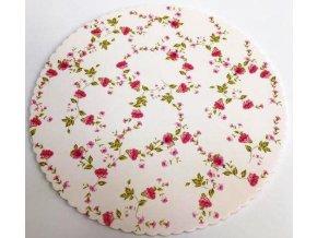 Alvarak dortová podložka Květiny 27 cm + 5x krajková bílá podložka