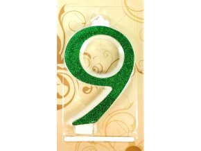 Svíčka velká zelená číslo 9