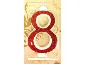 Svíčka velká červená číslo 8