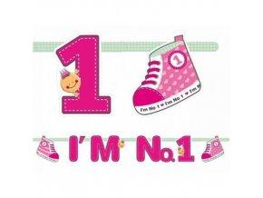 PartyDeco girlanda růžová I'm No.1