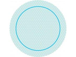 Alvarak dortová podložka Modrá s puntíky 31 cm + 5x krajková bílá podložka