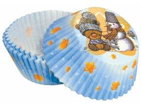 Alvarak košíčky na muffiny č. 92 Modré s medvídkem a sněhulákem (50 ks)