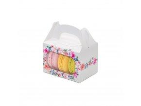 Svatební krabička na makronky bílá s květinami (8 x 5,7 x 5,7 cm)