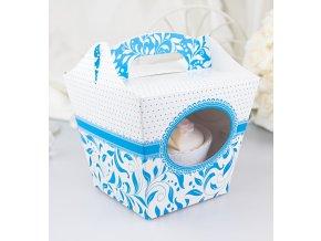 Svatební krabička na cupcake bílo-modrá (7,5 x 7,5 x 9,3 cm)