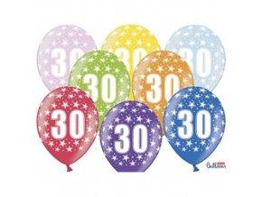 PartyDeco balónky barevné metalické 30. narozeniny (6 ks, náhodné barvy)