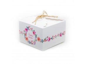 Svatební krabička na výslužku bílá s květinami (16,5 x 16,5 x 11 cm)