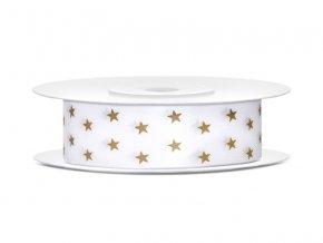 Bílá stuha se zlatými hvězdičkami 18 mm x 10 m (1 ks)