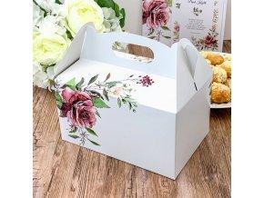 Svatební krabička na výslužku bílá s růží (20 x 13 x 11 cm)