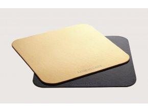 Tác zlato-černý hrubý zaoblený čtverec 24 x 24 cm 1KS