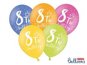 PartyDeco balónky barevné 8. narozeniny (6 ks)