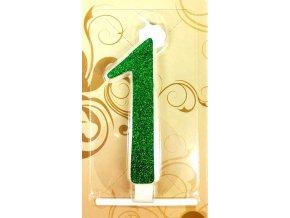 Svíčka velká zelená číslo 1