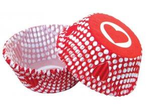 Alvarak košíčky na muffiny Červené s puntíky a srdíčky (50 ks)