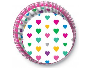 Alvarak košíčky na muffiny Bílé s barevnými srdíčky (50 ks)