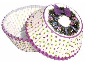 Alvarak košíčky na muffiny Vánoční věnec s fialovou mašlí (50 ks)