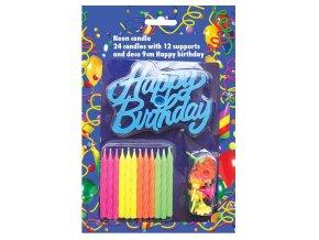 Alvarak 24 narozeninových svíček se stojánky a plastovým nápisem Happy Birthday