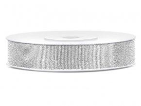 Stříbrná glitterová stuha 10 mm x 25 m (1 ks)