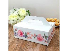 Svatební krabička na výslužku bílá s květinami (26 x 18 x 9,5 cm)