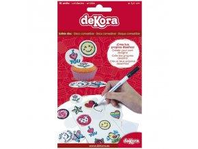 16ks koleček bílého fondánového jedlého papíru 3,4cm pro kreslení jedlým fixem - Dekora