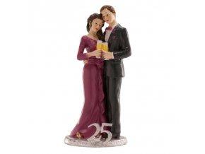 Svatební figurka na dort 25let spolu stříbrná svatba - Dekora
