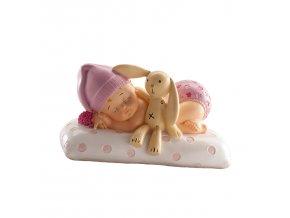 Figurka na dort spící miminko holčička - Dekora