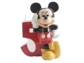 Dortová svíčka Mickey 6,5cm číslo 5 - Dekora