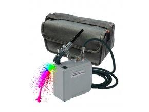 Airbrush sada: kompresor a stříkací pistole na dekoraci praktická cestovní brašna
