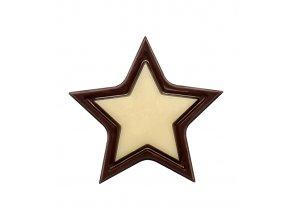 Čokoládová hvězda Alfa 3D v.3,4cm (hořko-bílá) 324 ks/bal (649g)