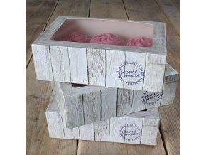 Papírová krabička průhledná na 6 cupcakes 24x16x8cm v sadě 3 krabičky - FunCakes