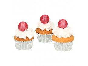FunCakes pearl choco balls dark pink - tm.růžová - 8ks
