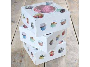 Papírová krabička na 4 cupcaky 3ks krabic - FunCakes