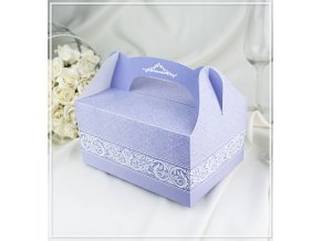 Svatební krabička na výslužku světle fialová (18,5 x 13,5 x 9,5 cm)