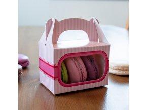 Krabička na makronky růžová s pruhem (8 x 5,7 x 5,7 cm)