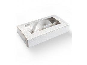 Krabička s průhledem 160x80+rozdělovač v.30mm (bílá kůže)  1 ks/krabička