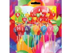 Barevné svíčky - Happy Birthday č. C25